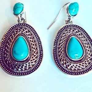 Southwest silver hanging earrings